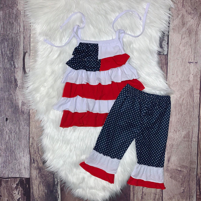 American Flag Layered Tunic Set