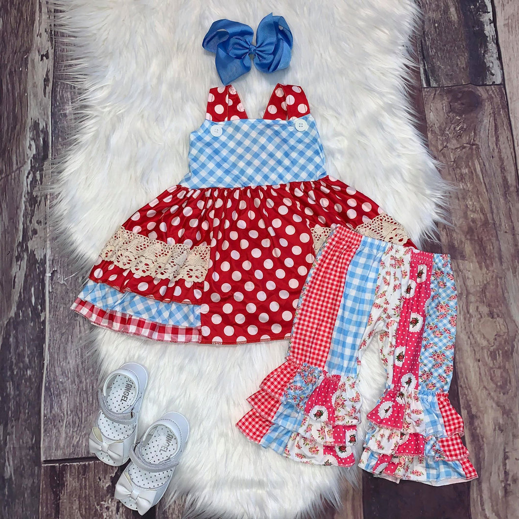 Red Polka Dot Ruffle Layered Panel Set