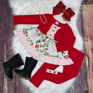 Red & White Polka Dot Floral Pocket Tunic Set