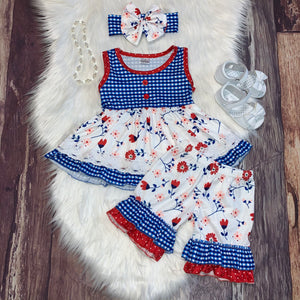 Red and Blue Floral Tunic and Ruffle Short Set