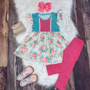 Southern Charm Floral Tunic Set and Pink Leggings
