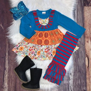 Turquoise & Orange Floral Tiered Tunic Set