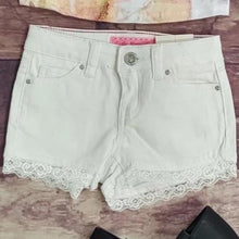 Load image into Gallery viewer, White Denim Lace Trimmed Shorts