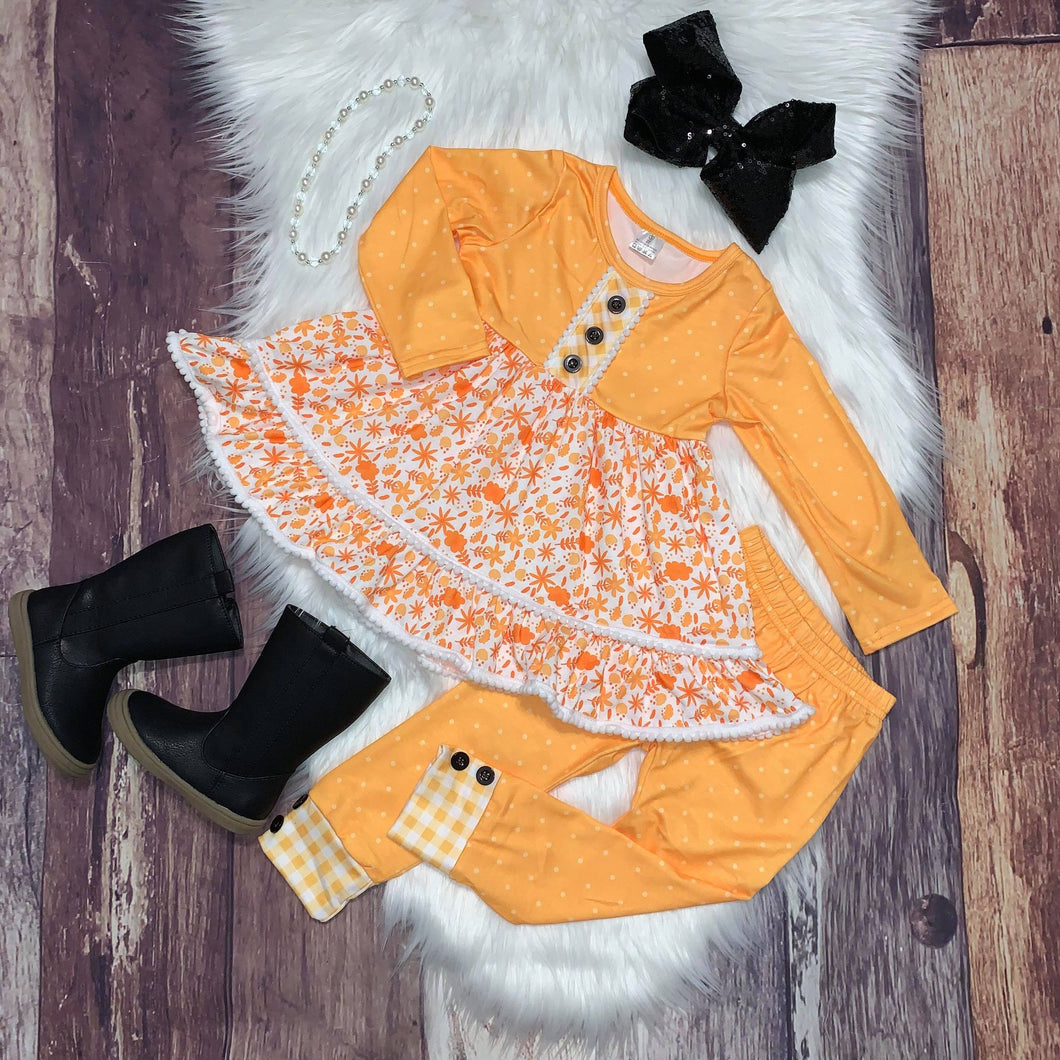 Yellow Floral PomPom Trimmed Tunic Set