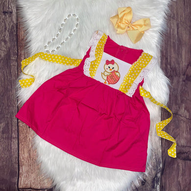 Yellow & Hot Pink Easter Chick Embroidered Dress