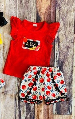 ABC Apple Back to School Shorts Set