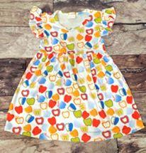 Multi-Color Apple Print Back to School Dress