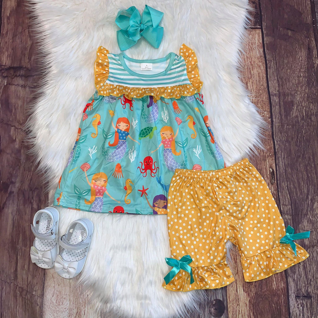 Aqua and Yellow Mermaid Printed Tunic and Shorts