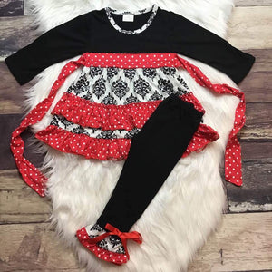 Black & Red Polka Dot Damask Tunic Set