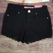 Load image into Gallery viewer, Black Denim Lace Trimmed Shorts