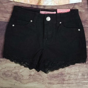 Black Denim Lace Trimmed Shorts
