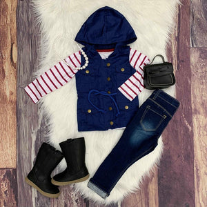 Vest & Long Sleeve Tee Set - Navy