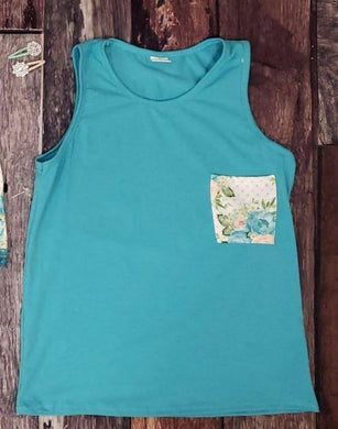 Blue Floral Pocket Tank