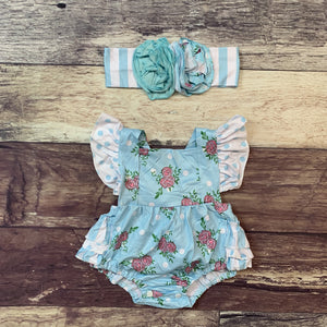 Blue Floral Polka Dot Ruffle Sleeve Bubble