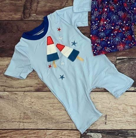 Americana Bomb Pop Boy Romper - 4th of July