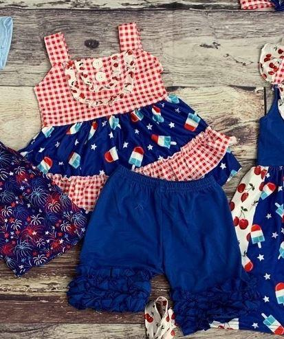 Americana Bomb Pop Ruffle Shorts Set - 4th of July