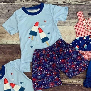 Americana Bomb Pop Boy's Embroidered Short Set - 4th of July