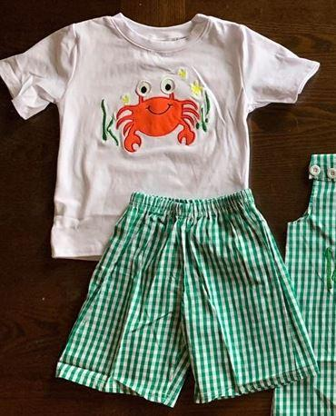 Embroidered Crab Short Set