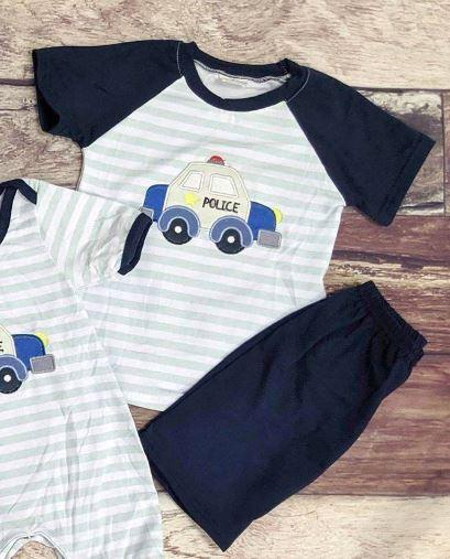 Embroidered Police Car Boy's Short Set