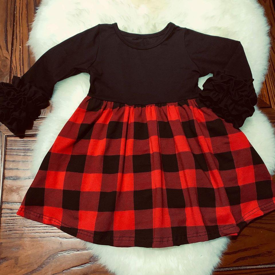 Buffalo plaid split dress