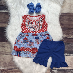 Celebrate Red Checker Blue Short Set