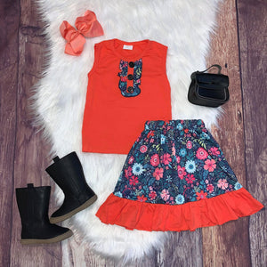 Coral Floral Sleeveless Skirt Set