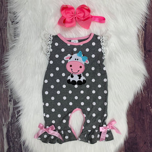 Embroidered Polka Dot Cow Romper