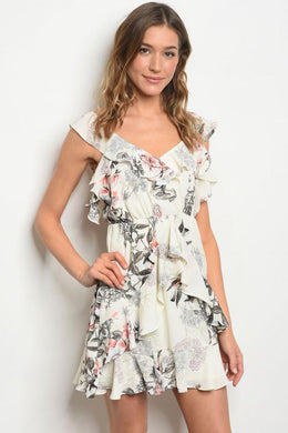 Creme Floral Frill Layered Mini Dress