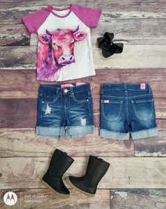 Dark Denim Rolled High Top Shorts