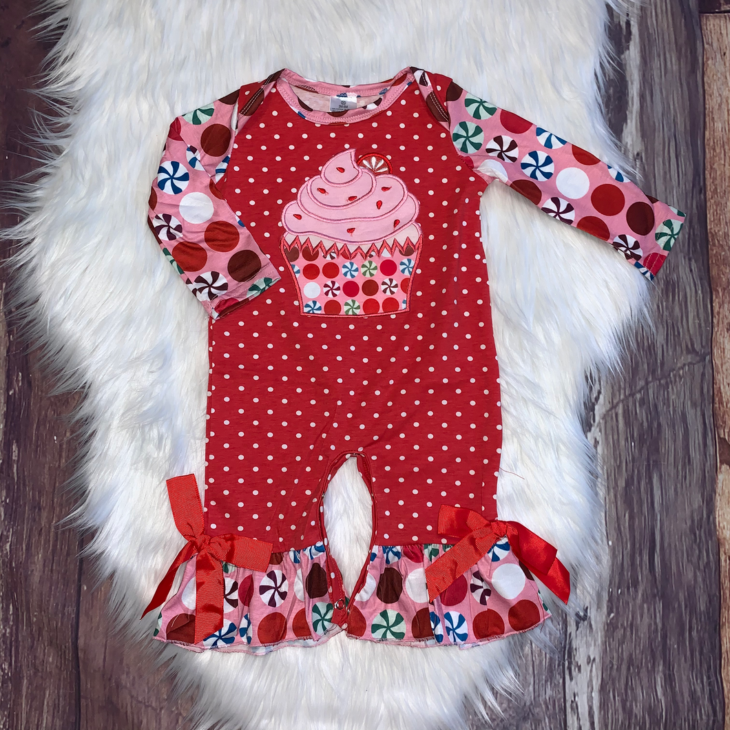 Peppermint Print Embroidered Cupcake Girls Romper