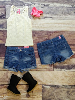Dark Denim Criss Cross Shorts