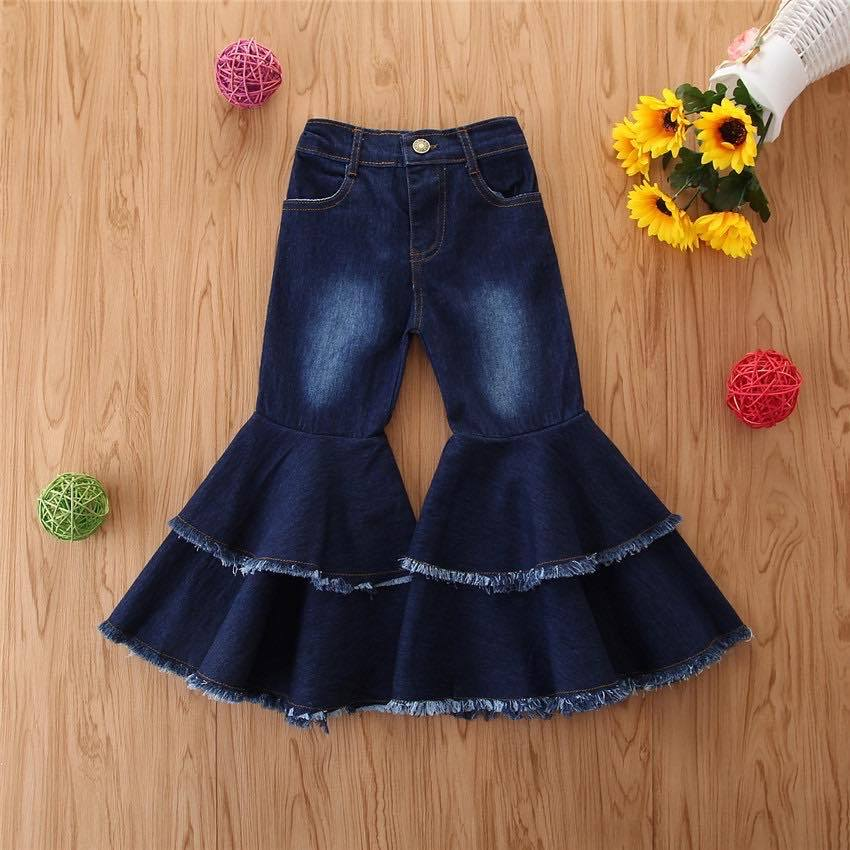 Double Flare Frayed Denim Bells