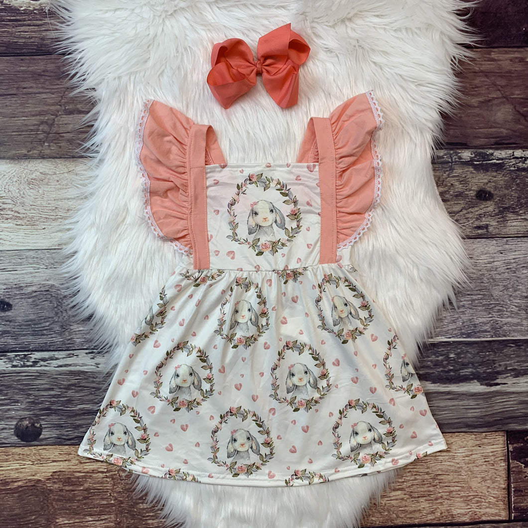 Easter Flutter Sleeve Bunny Dress