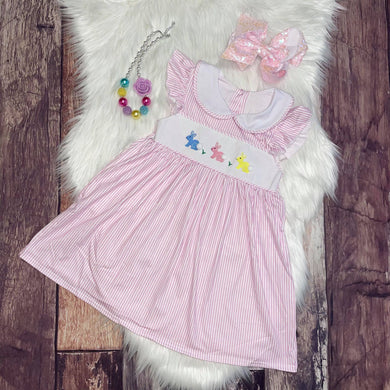 Pink Stripe Easter Dress with Embroidered Bunnies