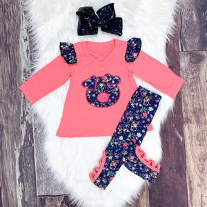 Embroidered Floral Pig Tunic Set