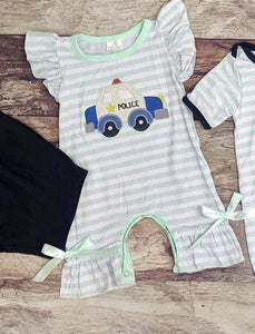 Embroidered Police Car Girl's Romper