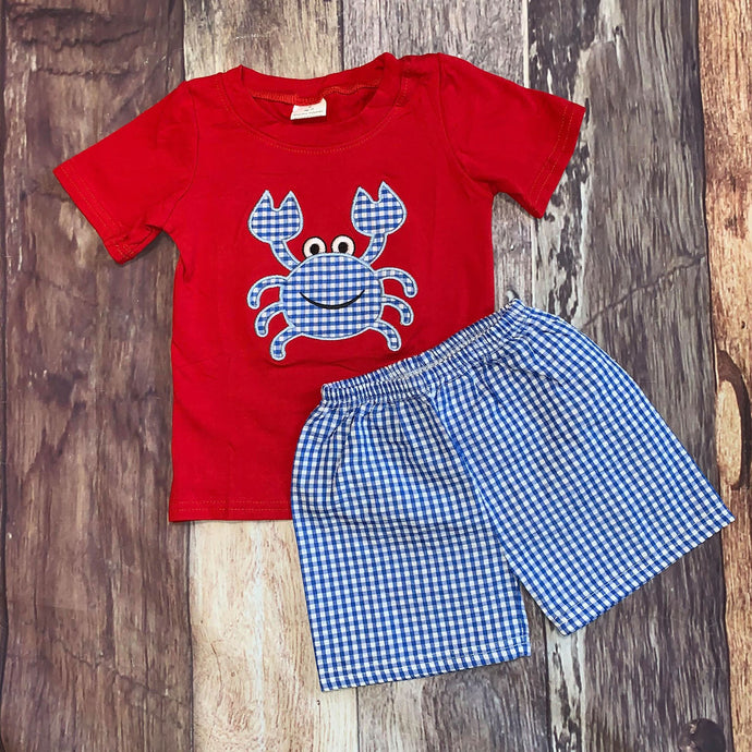 Seersucker Embroidered Crab Tee and Shorts