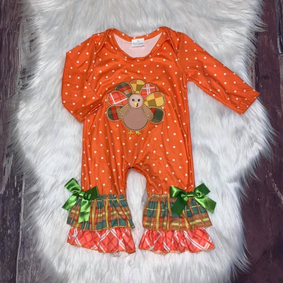 Thanksgiving Embroidered Turkey Girl's Romper