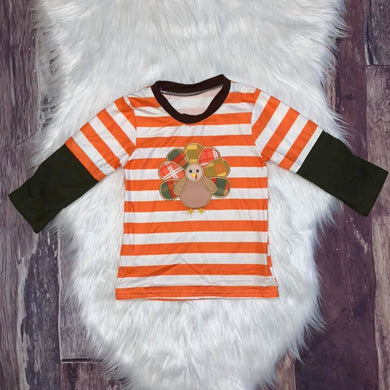 Thanksgiving Embroidered Turkey Raglan