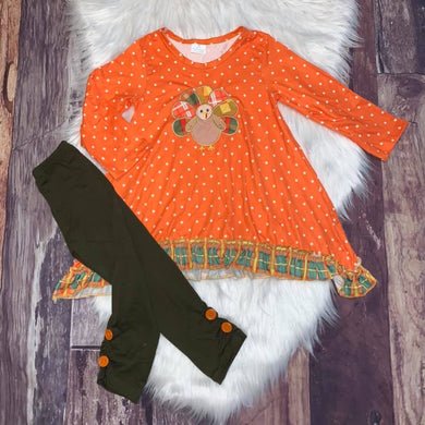 Thanksgiving Embroidered Turkey Girl's Set