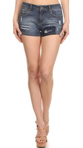 Tattered Enjean Denim Shorts
