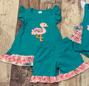 Embroidered Flamingo Set