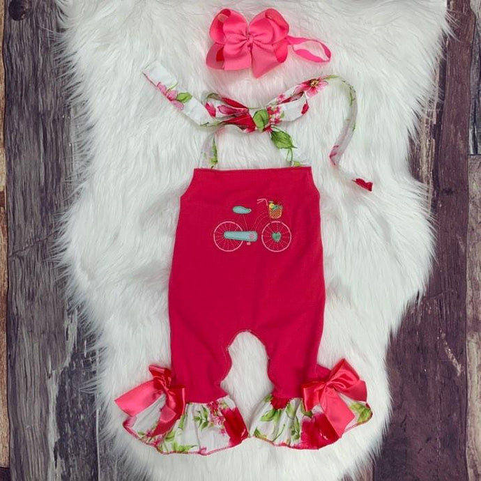 Embroidered Floral Bicycle Romper