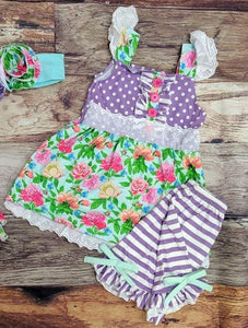 Floral Dot Tunic and Shorts Set