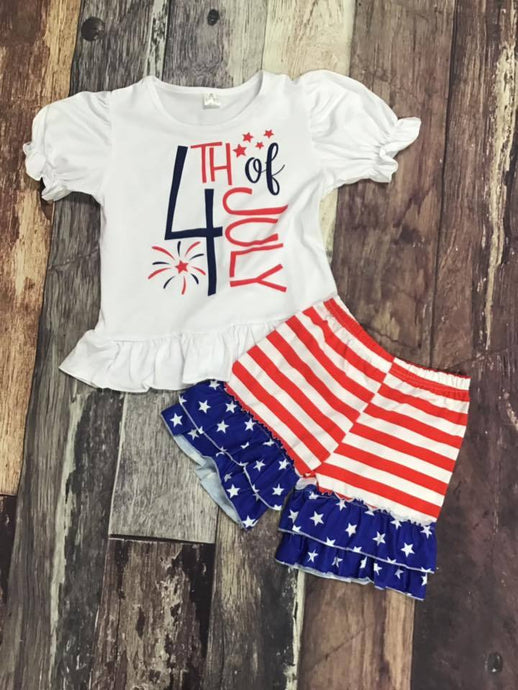4th of July Ruffle Striped Shorts Set
