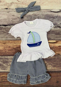 Embroidered Sailboat Blue Seersucker Girl's Set