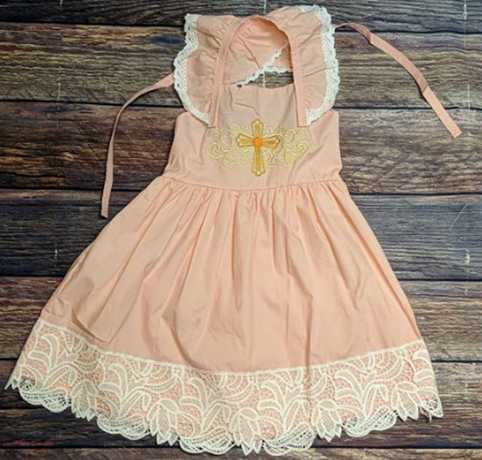 Woven Peachy Pink Embroidered Cross  Easter Dress