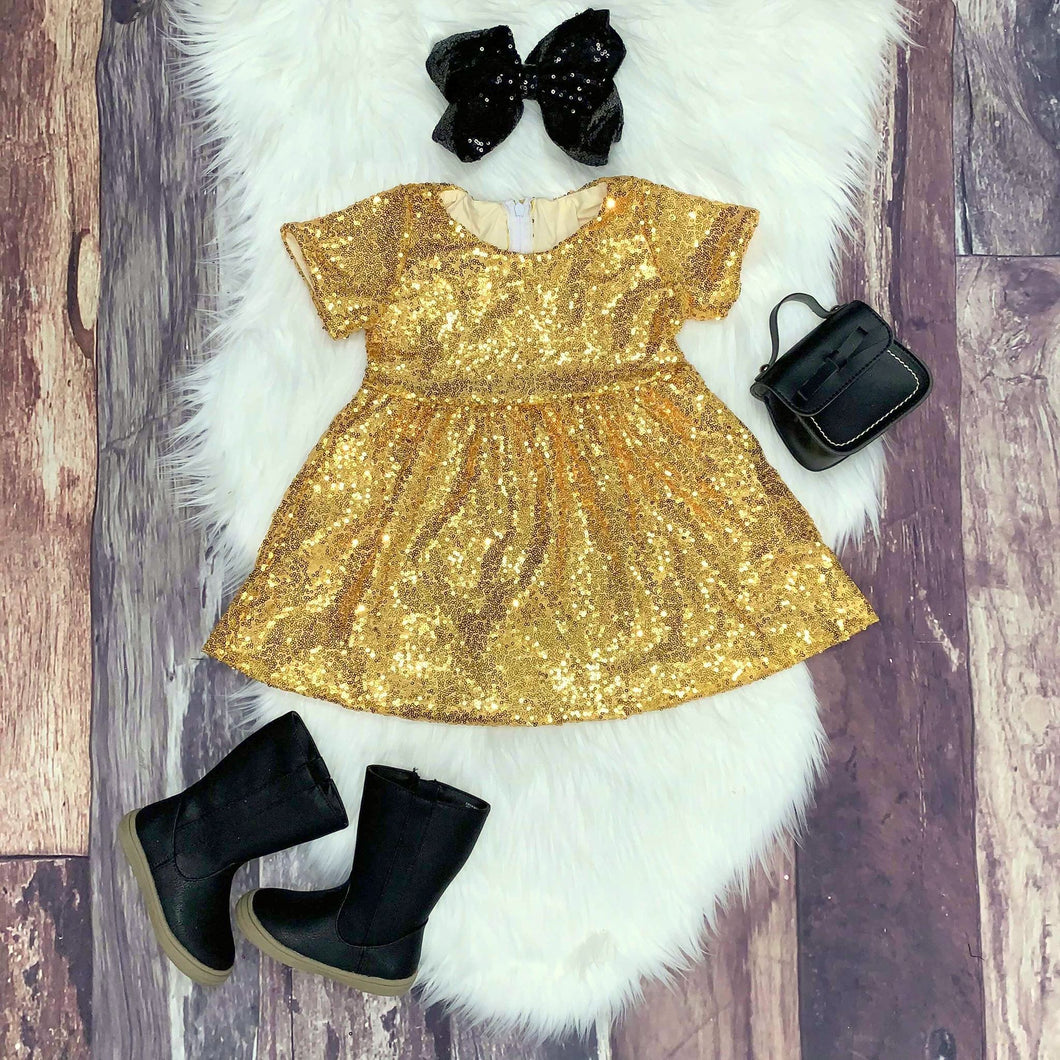 Sequin Sparkle Party Dress - Gold