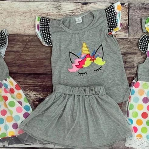 Embroidered Gray Polka Dot Unicorn