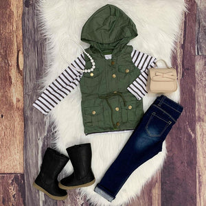Vest & Long Sleeve Tee Set - Green